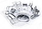 grobe Konzeptzeichnung fόr das Haus des Wissenschaftlers der Techs
